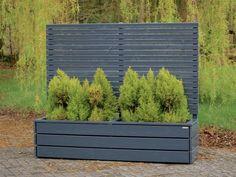 Pflanzkasten mit Sichtschutz lang aus Holz, Deckend Geölt Anthrazit