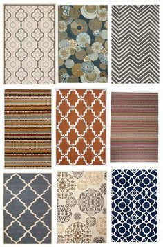 area rug inspiration from a decorator. Her two favorite sources for indoor/outdoor rugs are Overstock and Rugs USA.  Also Target, IKEA, World Market, Shades of Light, and West Elm are good places too.