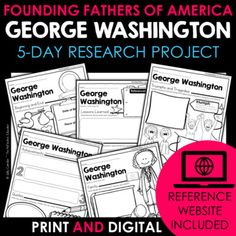 Your students will love learning about George Washington - one of the Founding Fathers of America - with this fun research project. Scaffolded notes support students through the research process from start to finish. Simply share the kid-friendly Reference Website created for this project with your ... Daily Lesson Plan, Lesson Plans, Reference Website, Benjamin Franklin, Create Website, Research Projects, Founding Fathers, Upper Elementary, Google Classroom