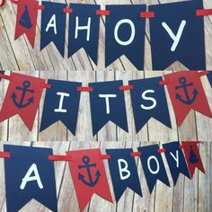 This listing if for an Ahoy! Its a Boy! banner. This banner is perfect for a nautical themed baby shower! The pennants are approximately 5.5 by 3.5 and strung with red grosgrain ribbon. Each pennant is made with high quality cardstock. The spacers are made with textured polka dot cardstock alternating with sailboat and anchor accents. For this listing the colors are red, navy, and white. However, the colors are completely customizable to match your occasion! If you wish to change the colors…