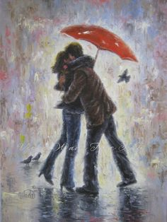 ♥♥♥ Aahhh...love in the rain! ♥♥♥  Kiss in the Rain is a fine art print of an original oil painting of mine. It is printed on heavyweight 12 X 18 cover paper. Image size 11.3 X 14.5 approx. + a white border for framing.  This print woulde fit nicely behind a standard 16 X 20 mat/glass/frame combo found at stores like Michaels Craft Stores.  Kiss in the Rain ships in a protective clear cello sleeve in a sturdy Priority Mail container. International shipping is by 1st Class Mail. Please…