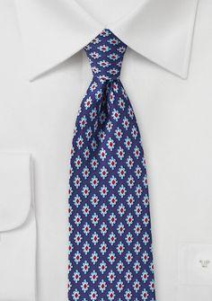 Krawatte Retro-Embleme navyblau