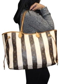 6436a7f66886 Louis Vuitton Neverfull Rayures Gm Monogram Striped Stripes Collection  Vanilla Brown Tote Bag. Get