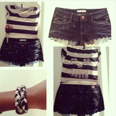 skull head top and curvy shorts with braided bracelet!