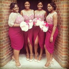 Magenta with cream lace overlay bridesmaids dresses