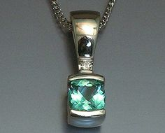 14k white gold pendant with checker board top Seafoam Tourmaline and Diamond