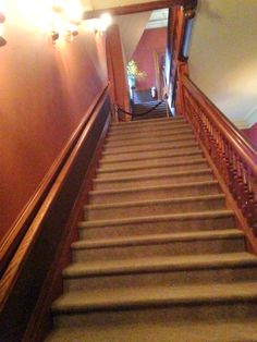 Biltmore House- 2nd- 1/2 Floor- stairs going up to 3 1/2 floor viewed from hall on 2 1/2 floor by Claude bedroom