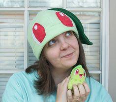 Chikorita Pokemon Fleece Hat Beanie Handmade Gift by LuffNStuff