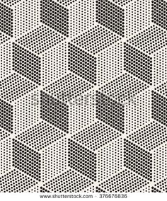 Vector seamless pattern. Modern stylish texture. Repeating geometric tiles. Dotted monochrome cubes.