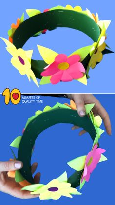 Flower Crown Craft for Kids - Top Paper Crafts Preschool Arts And Crafts, Easy Arts And Crafts, Daycare Crafts, Paper Crafts For Kids, Activities For Kids, Art And Craft Flowers, Flower Crafts, Paper Flowers, Moana Crafts