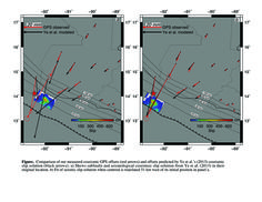 Pinpointing Slip and Earthquake Location with the Guatemalan Geodetic Network #UNAVCO #GPS #geodesy #hazard About this image: Comparison of measured GPS offsets (red arrows) and those predicted by Ye et al. (2013) coseismic slip solution (black arrows). (a) Subfaults and slip solution from Ye et al. (2013) in their original location. (b) Fit of seismic slip solution when centroid is translated 51 km west of its initial position in (a). Figure courtesy of Andria Ellis.