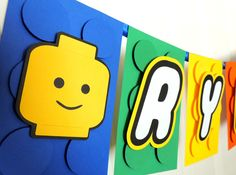 Lego Party Banner - 10 letters/blocks by Papelier on Etsy