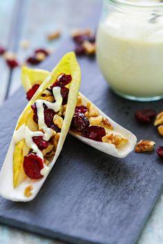 Endive, Pear, and Walnut Appetizer on www.goodlifeeats.com @Katie Hrubec Goodman