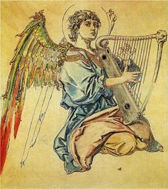 Angel image of the day. malachim: Angel with harp - Jan Matejko Religious Paintings, Religious Art, Angel Guide, Angel Images, European Paintings, Madonna And Child, Greek Art, Guardian Angels, Art Database