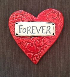 "$24.00 Ceramic Wall Plaque ""Forever"" Heart  © Malena Bisanti-Wall Studio"