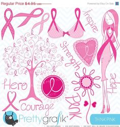 80% OFF SALE Breast cancer clipart commercial use, vector graphics, digital clip art, digital images  - CL388