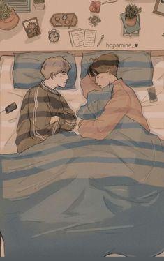 Yoonmin Fanart, Vkook Fanart, Ship Drawing, Chinese Cartoon, Gay Aesthetic, Cute Anime Coupes, Cute Gay Couples, Bts Drawings, Gay Art