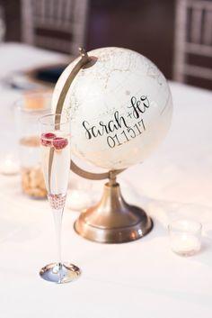 Worldly hand-calligraphed globe: http://www.stylemepretty.com/2017/05/10/elfreths-alley-winter-philadelphia-wedding/ Photography: Elizabeth Nord - http://elizabethnord.com/