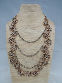 Handmade Sterling Silver and Rose Gold Flower and JPL Chainmaille Weave Necklace by Candice Meyer, via Flickr