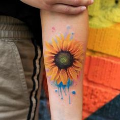 sunflower tattoo watercolor style