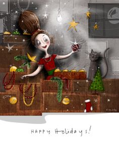 Posts about drawing & illustration written by Kelly Canby Decking, Happy Holidays, Cheer, Old Things, Christmas Ornaments, Holiday Decor, Drawings, Illustration, House