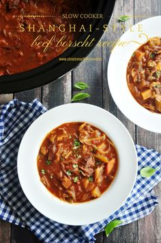 A healthy Shanghai-style borscht recipe made with tomatoes, beef stew meat, and onion sauteed in a roux and slow cooked in beef bone broth. This beef borscht is the perfect comfort food on a chilly day. Tomato Beef Stew, Beef Stew Meat, Slow Cooker Beef, Slow Cooker Recipes, Crockpot Recipes, Borscht Recipe, Borscht Soup, Healthy Soup, Healthy Recipes