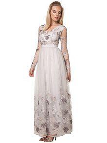 0db8105221fc Floral Embroidered Maxi Dress Černé Šaty Na Školní Ples