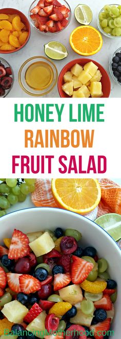 Colorful and beautiful rainbow fruit salad with honey and lime dressing. This fruit salad is a great treat for any meal ... and it's beautiful too! Easy to make honey and lime dressing puts it over the top.