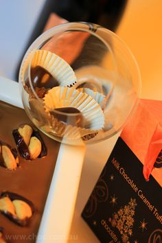 The Chocolate glass , the Caramel truffles , the Dessert  Plate and the red wine  Fardoulis Chocolates Chocotate Plato  www.choc.com.au