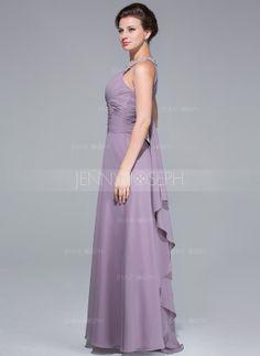 Bodenlang Chiffon Kleid für die Brautmutter mit Rüschen Perlen verziert