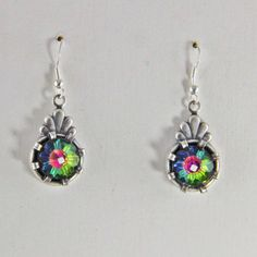 Handmade Silver and Glass Dangle Earrings by oscarcrow on Etsy