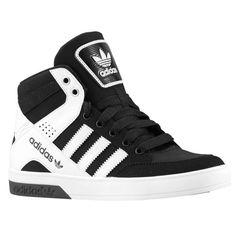 Adidas Shoes OFF! adidas Originals Hard Court Hi 3 - Boys Grade School - Basketball - Shoes - Black/White/Black Addidas Sneakers, Casual Sneakers, Sneakers Fashion, Fashion Shoes, Fashion Outfits, Sock Shoes, Shoe Boots, Adidas High Tops, Black Adidas