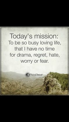 Today's mission: To be so busy loving life, that I have no time for drama, regret, hate, worry or fear. Positive Outlook, Positive Words, Anger Management Classes, No More Drama, Drama Quotes, A Course In Miracles, Special Words, Power Of Positivity, Meditation Quotes