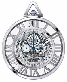 Cartier Grand Complication Chronograph Perpetual Calendar 18 kt White Gold Pocket Watch W1556213