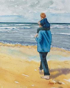 A father's love, walking on the beach.  Private collection.