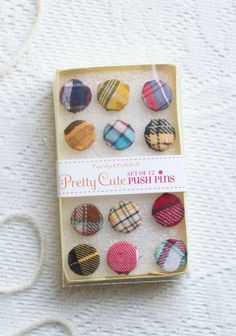 Plaid fabric buttons as Pushpins