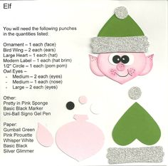 Stampin Up Punch Art | The Elf was done with Pink Pirouette, Gumball Green, Whisper White ...