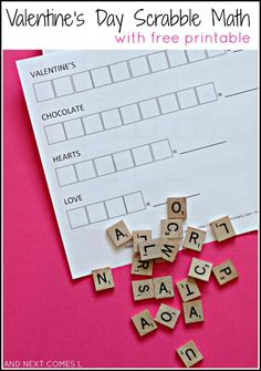 Free Valentines's day printables activity for your kids - spell out the Valentine inspired words with Scrabble tiles and tally the score