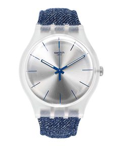 Swatch Watch, Unisex Swiss White Washed Out Blue Denim Strap 43mm SUOK103 - Swatch - Jewelry & Watches - Macys
