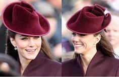 """Kate's hat (pictured above) is by Jane Corbett, the milliner who created the pale blue hat worn by Kate's mother Carole for the royal wedding. Corbett, based in Hungerford, Berkshire, describes herself as a """"couture milliner and artist"""" on her website.    Corbett has been making hats for over 15 years and was trained by Rose Cory, the late Queen Mother's milliner."""
