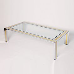 Italian Chrome and Brass Coffee Table with Clear Glass Top by Romeo Rega Retro Furniture, Antique Furniture, Brass Coffee Table, Mid Century Furniture, Clear Glass, 1970s, Chrome, Tables, Antiques