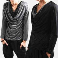 Tops :: Avant-Garde Design Unique Shirring Cowl Tee - 24 - New and Stylish - Fast Mens Fashion - Mens Clothing - Product