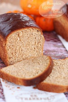 Soft and light, with a buttery crust and a yellowish color, this pumpkin eggnog bread is a wonderful addition to your holiday table.