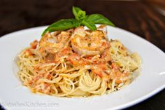 Spaghetti with Shrimp. Swap basil with 2 Tbs. Dried Oregano. Swap white wine with veggie broth. Used white onion.
