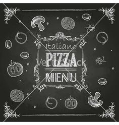 Chalk drawings pizza vector. Italian pizza by annbozhko on VectorStock®