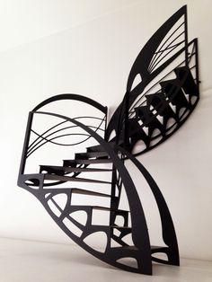 Escalier design double quart tournant de style Art Nouveau créé par Jean Luc Chevallier pour La Stylique.