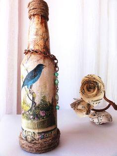 Altered Shabby Chic Bottle