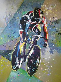 Urban artist and musician Goldie has painted some of Britain's best known Olympic hopefuls ahead of the London 2012 Games in collabaration with adidas. Cycling Art, Cycling Bikes, Track Cycling, Urban Cycling, Bicycle Race, Bike Run, Tricycle, Bike Illustration, Sports Art