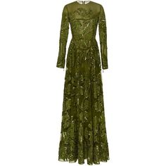 Elie Saab Embroidered Tulle Long Sleeve Gown (1.314.370 RUB) ❤ liked on Polyvore featuring dresses, gowns, gown, green gown, long sleeve evening gowns, beaded gown, green ball gown and tulle gown