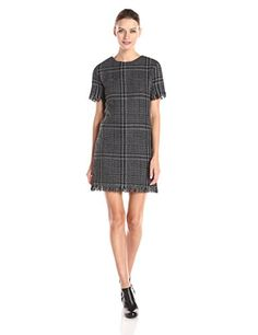 RD Style Womens Cotton Plaid Sleeve Dress GreyBlack Combo Small >>> Click image for more details.
